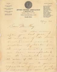 Thank You Letter sent to Edward Kay from the Jewish Centers Association