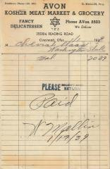 Receipt for Chevra Shaas from Avon Kosher Meat Market and Grocery for $20.89, 1939