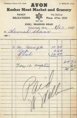 Receipt for Chevrah Shaas from Avon Kosher Meat Market and Grocery for $24.35, 1944