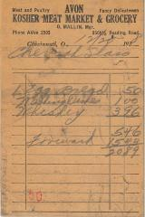 Receipt for Chevra Shaas from Avon Kosher Meat Market for $20.89, 1938