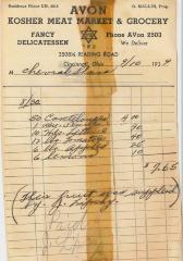 Receipt for Chevrah Shaas from Avon Kosher Meat Market and Grocery for $7.65, 1939