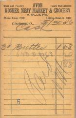 Receipt for Chevra Shaas from Avon Kosher Meat Market and Grocery  for $1.88, 1946