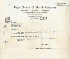 Letter from Beeco Granite & Marble Company to Kneseth Israel regarding Foundation Installation for Grave Lots, 1953