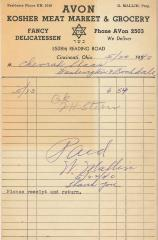 Receipt for Chevrah Shaas from Avon Kosher Meat Market and Grocery for $6.54, 1940