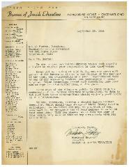 1941 Letter to Albert Harris from the Bureau of Jewish Education regarding the Establishment of a Zmiros Shabbos Committee (for the reading of the weekly Haftorah portion on Friday evening)