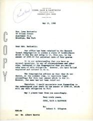 Letter from Kneseth Israel to Lena Berkowitz concerning overdue funds, May 10, 1966