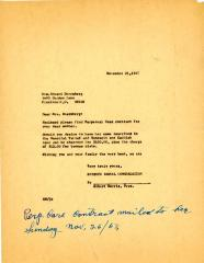 Letter from Kneseth Israel to Edward Doernberg concerning a perpetual care contract for his mother, November 21, 1967