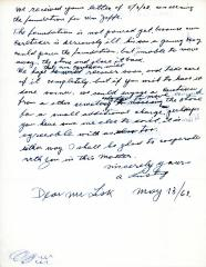 Letter from Kneseth Israel to Mr. Lisk concerning a foundation for a grave, May 13, 1968