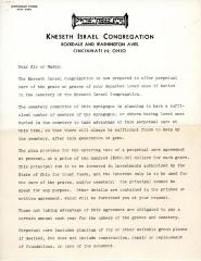 Letter announcing the Introduction of Perpetual Care at Kneseth Israel Congregation Cemetery