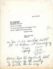 Letter from Kneseth Israel to Mrs. Ben Berkowitz concerning payments for Perpetual Care, April 13, 1964