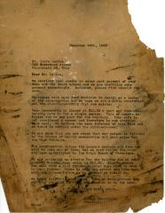 Letter Kneseth Israel to Louis Levine concerning partial payments, December 24, 1946