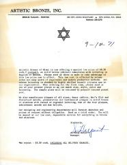 Letter from Artistic Bronze concerning the price of their memorial tablets, September 10, 1971