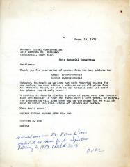 Letter from United States Bronze Sign Company to Kneseth Israel Cemetery concerning the fonts and lettering of memorial tablets ordered, September 19, 1973