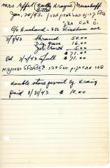 Effel Menachoff's cemetery account statement from Kneseth Israel, beginning February 3, 1943