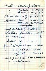 Abraham Miller's cemetery account statement from Kneseth Israel, beginning September 25, 1963