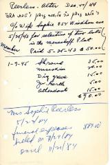 After Peerless's cemetery account statement from Kneseth Israel, beginning May 25, 1943