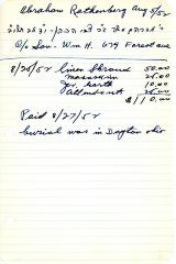 Abraham Rathenberg's cemetery account statement from Kneseth Israel, beginning August 25, 1952