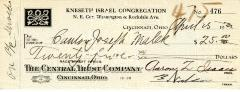 Check from Kneseth Israel Congregation to Cantor Joseph Malek for $25.00, dated April 25, 1932