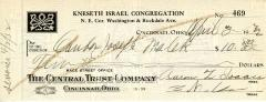 Check from Kneseth Israel Congregation to Cantor Joseph Malek for $10.00, dated April, 1932.