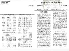 Congregation New Hope Pesach Bulletins, 1970, 1971, 1973, 1974, 1978 & 1980