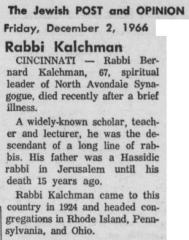 Obituary for Rabbi Bernard Kalchman