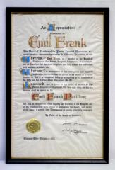 Framed certificate of appreciation presented to Emil Frank by the Board of Trustees of the Jewish Hospital Association on February 2, 1952