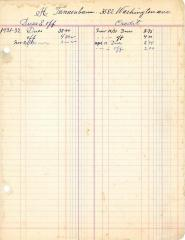 Financial Statement from Kneseth Israel for the member account belonging to H. Tennenbaum, 1931-1932