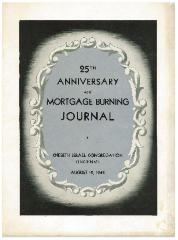 Kneseth Israel Congregation (Cincinnati, Ohio) 25th Anniversary and Mortgage Burning Journal from 1945