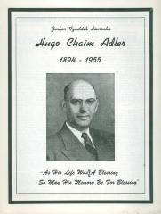 Hugo Chaim Adler Funeral Program