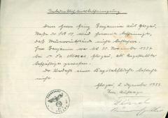 Handwritten document with stamp