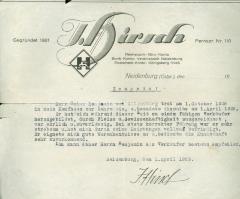 """Bank Certificate """"J. Hirsch"""" 1929"""