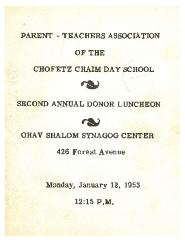 Cincinnati Hebrew Day School/Chofetz Chaim Parent Teacher Booklet - 1953