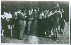 Photo Werner Coppel standing with other members of Hakshira, 1940