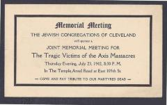 Notice of Memorial Meeting by the The Jewish Congregations of Cleveland for the Jewish Victims of the Nazis - 1942