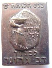 Pin given to attendees at a Conference of Irgun Fighters in Memory of Dov Gruner