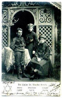 Front of Postcard of the Children of Theodor Herzl