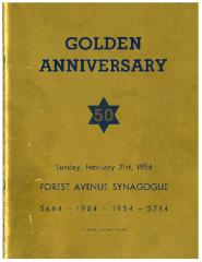 Forest Avenue Synagogue (k/n/a Golf Manor Synagogue), Cincinnati, Ohio - Golden (50th) Anniversary Book, 1904 - 1954