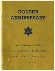 Forest Avenue Synagogue (k/n/a Golf Manor Synagogue), Cincinnati, Ohio - Golden (50th) Anniversary Book, 1904 - 1954