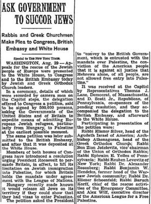 August 1944 Article - Rabbis and Greek Churchmen Make Plea to Congress, British Embassy and White House