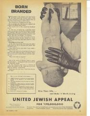 United Jewish Appeal Ad from 1947 Raising Funds for Displaced Jews in Europe