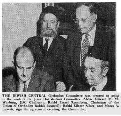 Picture of the Creation of the Jewish Central Orthodox Committee - 1947, the Chicago Sentinel