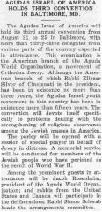 Article Regarding Agudath Israel of America's Third Convention Held in Baltimore, Maryland in 1941 - Chicago Sentinel