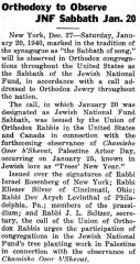Article Regarding Orthodox Jews in the United States to Observe a Jewish National Fund Sabbath Jan. 20 1940