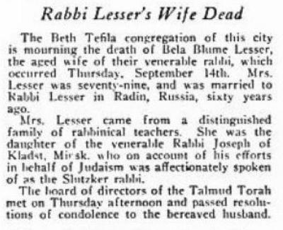 Death of Rabbi Lesser's Wife 1916 - The American Jewish Chronicle