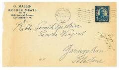 Envelope from O. Mallin Kosher Meats (Cincinnati, Ohio) – 1924
