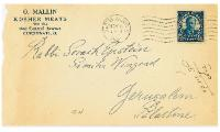 Envelope from O. Mallin Kosher Meats Front