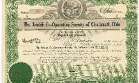 The Jewish Co-Operative Society of Cincinnati, Ohio Certificate Front