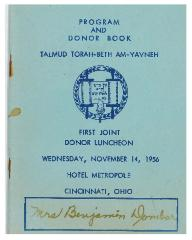 Program and Donor Book for Talmud Torah - Beth Am - Yavneh - First Joint Donor Luncheon November 14, 1956 (Cincinnati, Ohio)