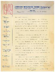 Jewish Welfare Fund of Cincinnati 1949 Fundraising Letter from University of Cincinnati Hillel