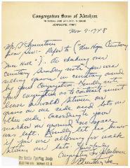 Letter Regarding the New Hope Congregation Cemetery on Congregation Sons of Abraham [Cincinnati, Ohio] Letterhead